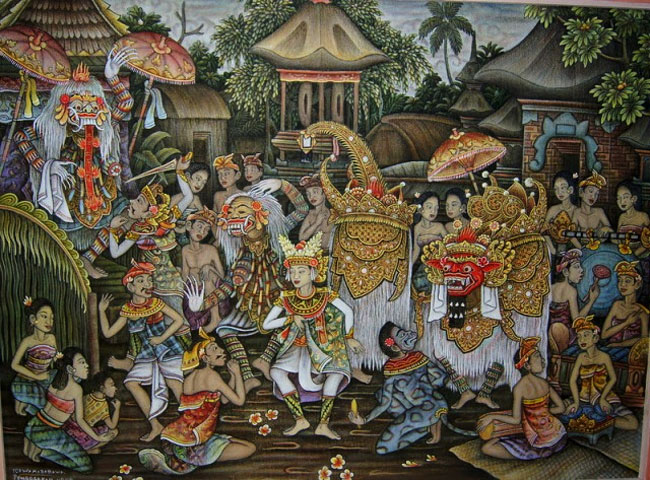 Traditional Balinese art depicted in a painting