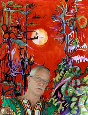 Bruce Sherratt against one of his paintings